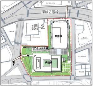 虎ノ門二丁目地区第一種市街地再開発事業の配置図