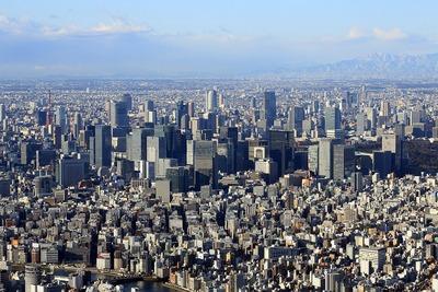 東京スカイツリーから見た東京駅周辺の超高層ビル群