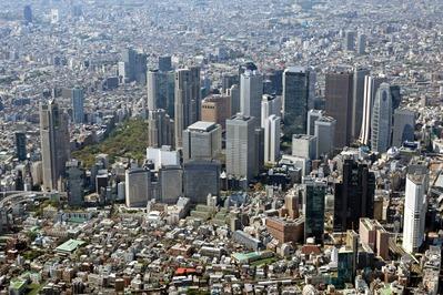 空撮 新宿の超高層ビル群