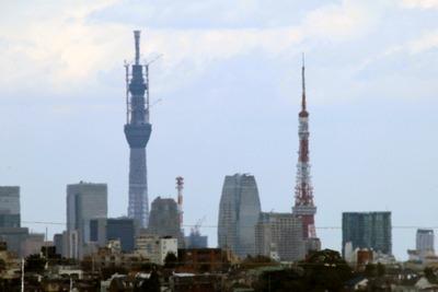 並んで見える東京タワーと東京スカイツリー