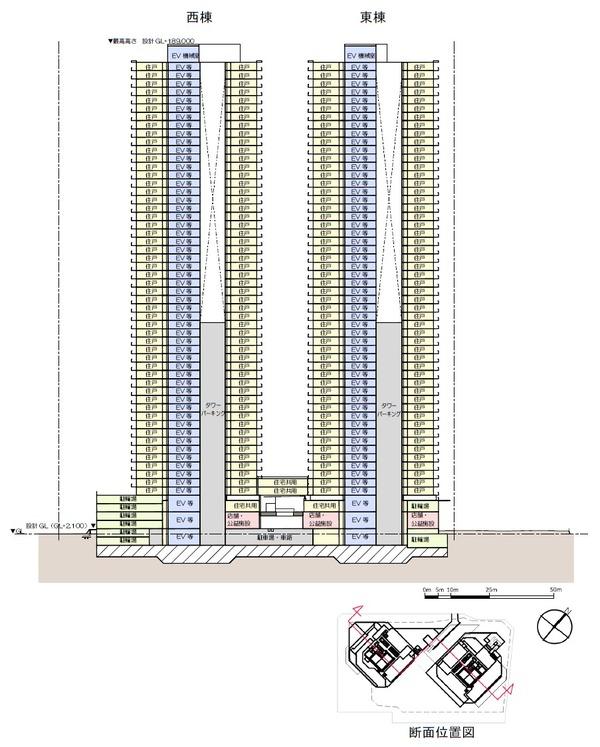 豊海地区第一種市街地再開発事業 断面図