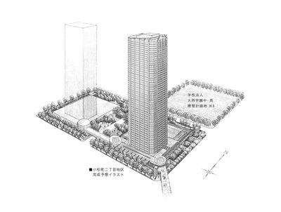 (仮称)小杉町二丁目地区開発計画A地区の完成予想図