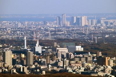 高尾山から見た武蔵小杉のタワーマンション群