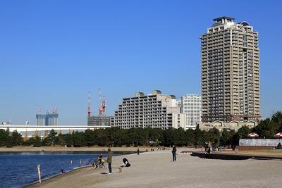 お台場の海岸から見たスカイズとブリリア有明シティタワー