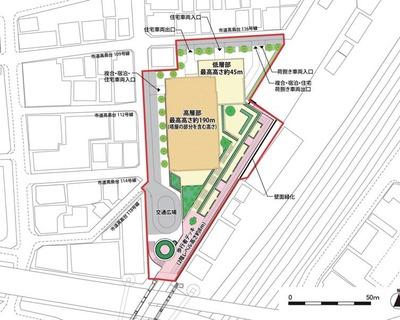 横浜駅きた西口鶴屋地区第一種市街地再開発事業 配置図