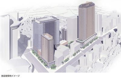春日・後楽園駅前地区市街地再開発の完成予想図