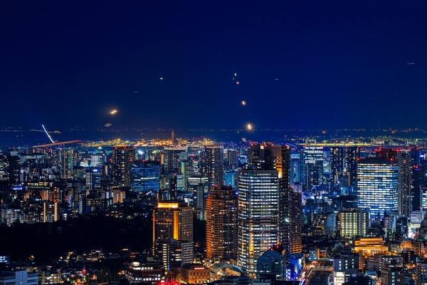 渋谷スカイから羽田空港方面の夜景