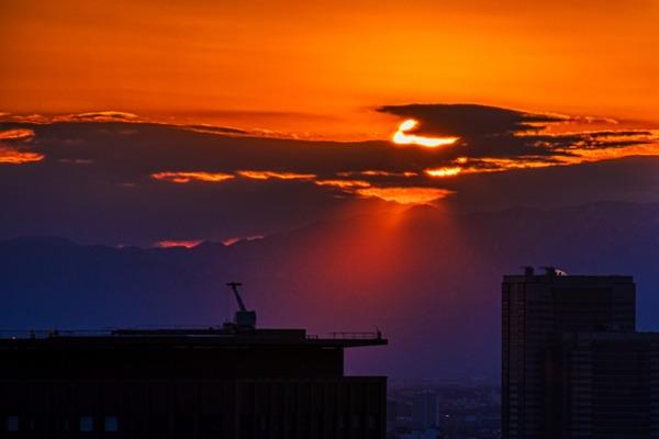 世界貿易センタービルから見た夕焼け