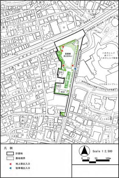 西麻布三丁目北東地区市街地再開発事業 配置図