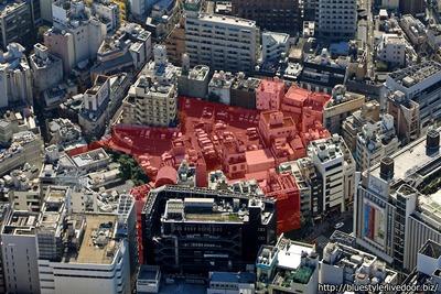 (仮称)渋谷区道玄坂二丁目開発計画の空撮
