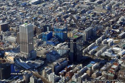 武蔵小杉駅北口方面の空撮
