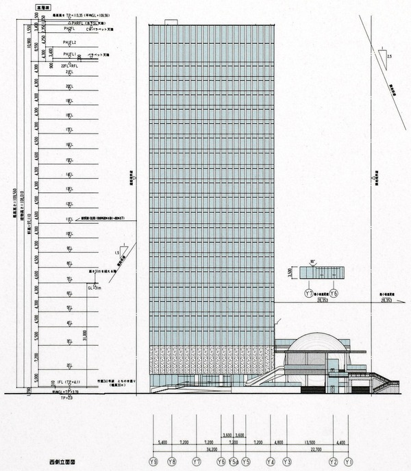 横濱ゲートタワー 立面図(西側)