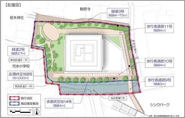 大崎駅西口F南地区第一種市街地再開発事業 配置図