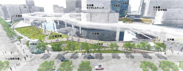 日本橋一丁目東地区第一種市街地再開発事業 完成予想図(C,D,E街区)
