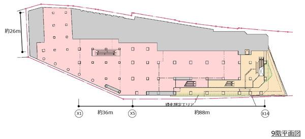 (仮称)新宿駅西口地区開発計画 9階平面図
