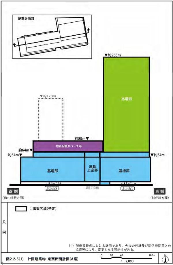 (仮称)札幌駅交流拠点北5西1・西2地区第一種市街地再開発事業 A案