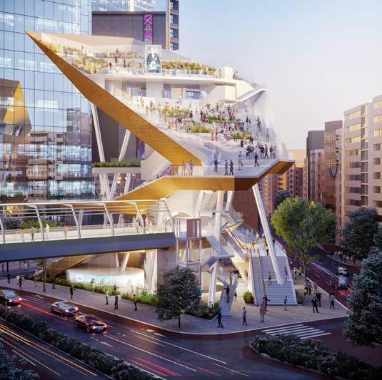 (仮称)渋谷二丁目西地区第一種市街地再開発事業 青山通り側から見たA街区建物の全景