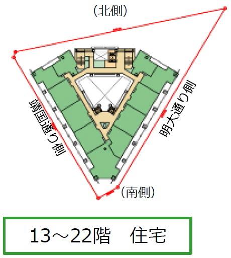 神田小川町三丁目西部南地区第一種市街地再開発事業 施設建築物のイメージ(13〜22階)