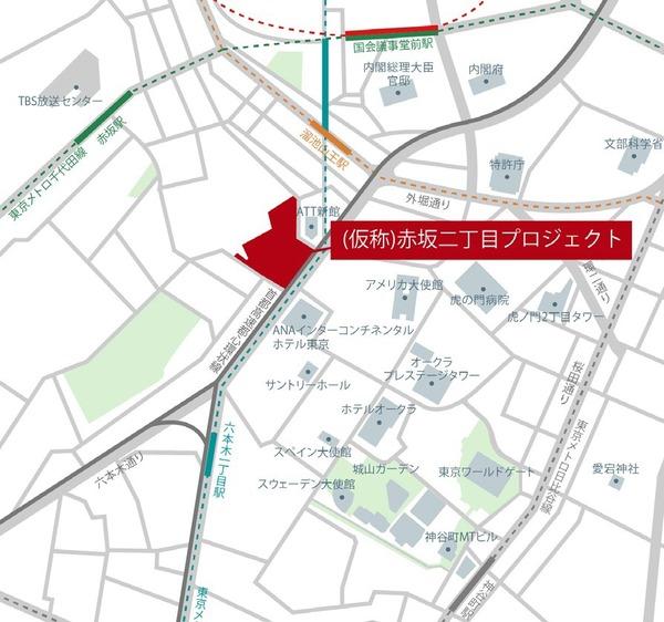(仮称)赤坂二丁目プロジェクト 周辺地図