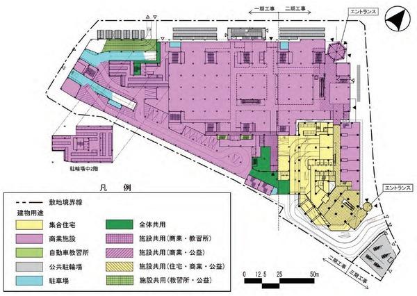 東金町一丁目西地区市街地再開発事業 建物平面図(地上1階)
