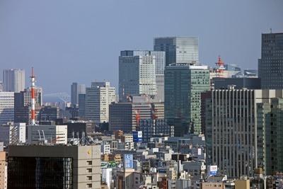 文京シビックセンターから見た大手町の超高層ビル群