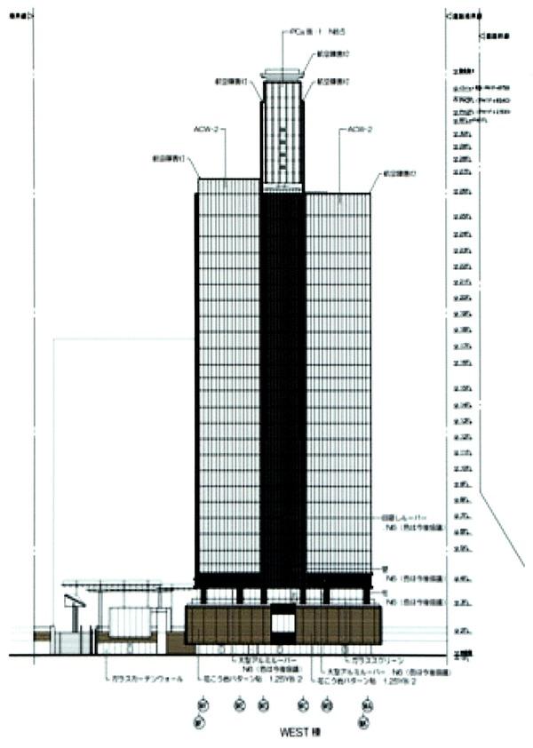 (仮称)みなとみらい21中央地区53街区開発事業 都市景観形成行為のお知らせ 立面図(西側)