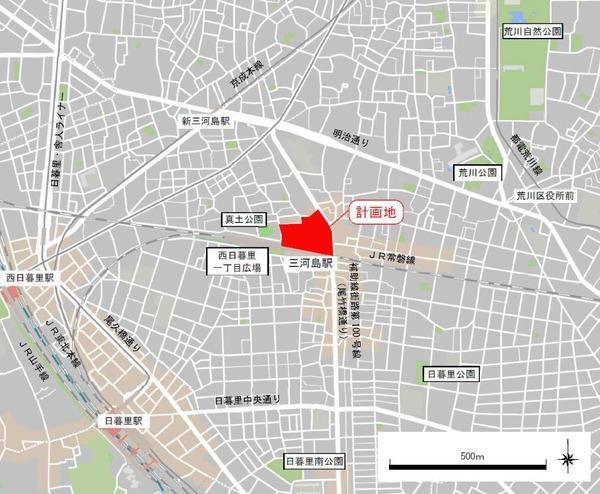 三河島駅前北地区第一種市街地再開発事業 位置図