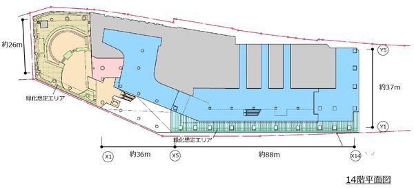 (仮称)新宿駅西口地区開発計画 14階平面図