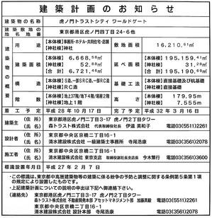 虎ノ門トラストシティ ワールドゲート 建築計画のお知らせ