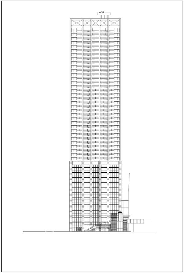 浜松町二丁目地区第一種市街地再開発事業 立面図(南側立面)