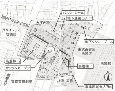 池袋駅西口駅前街区の配置図