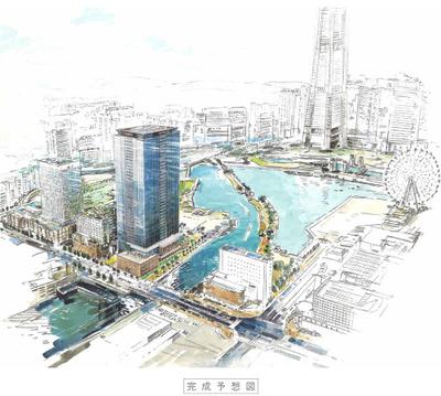 アパホテル&リゾート〈横浜ベイタワー〉新築工事の完成予想図