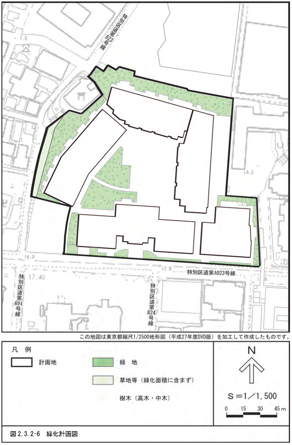 (仮称)三田一丁目計画 緑化計画図