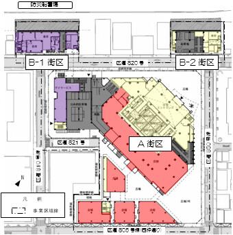 月島三丁目北地区第一種市街地再開発事業 配置図兼1階平面図