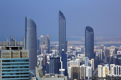 エティハド・タワーズから見たアブダビの超高層ビル