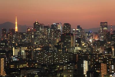 船堀から東京タワー方面の夕景