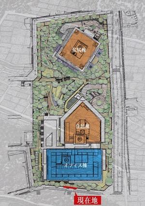目黒駅前地区第一種市街地再開発事業の配置図