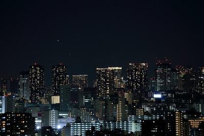 豊洲方面の夜景と金星と水星