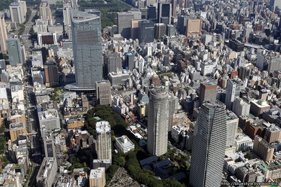 愛宕山F・G地区の計画地の空撮
