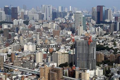 恵比寿ガーデンプレイスタワーから白金方面の眺め