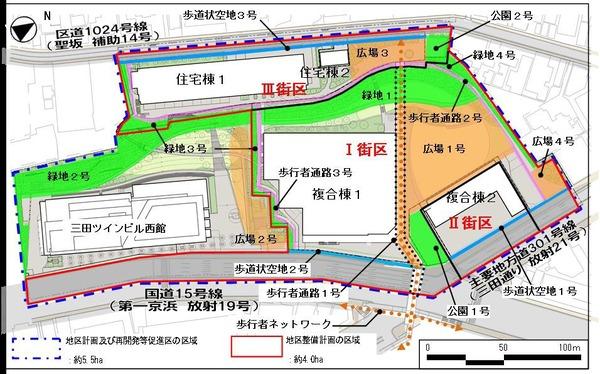 東京三田再開発プロジェクト 配置図