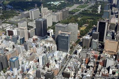 (仮称)新橋一丁目ビル 新築工事の建設地の空撮