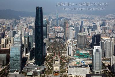 広州タワーの展望台から見た広州の超高層ビル群