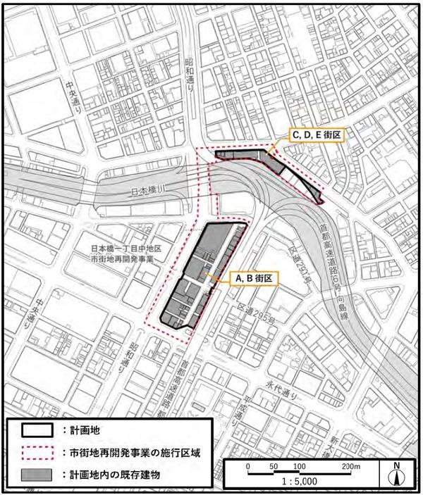 日本橋一丁目東地区第一種市街地再開発事業 計画地位置図(詳細)