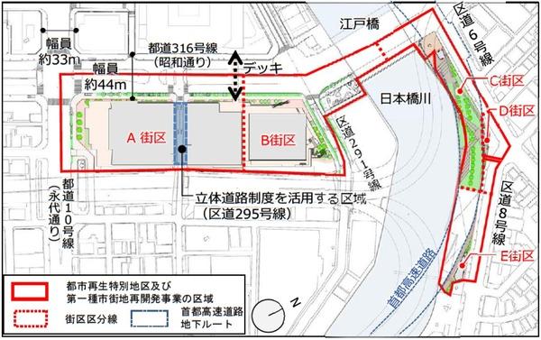 日本橋一丁目東地区第一種市街地再開発事業 配置図