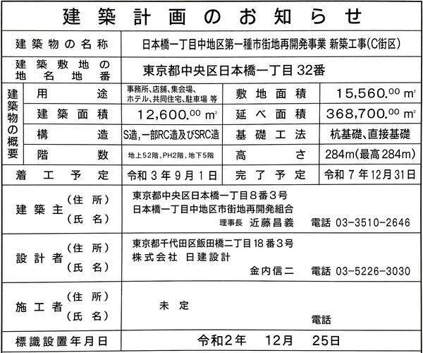 日本橋一丁目中地区第一種市街地再開発事業 新築工事(C街区) 建築計画のお知らせ