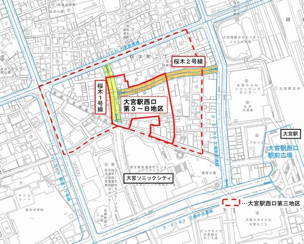 大宮駅西口第3-B地区第一種市街地再開発事業 位置図
