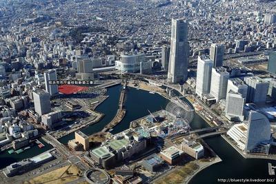 横浜市市庁舎移転新築工事の建設地の空撮