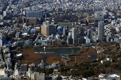 上野池之端方面の空撮