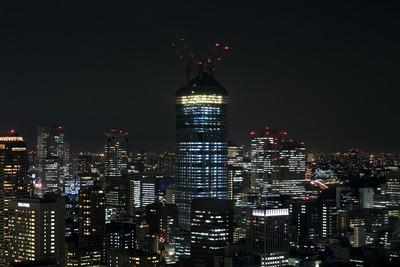 世界貿易センタービルから見た建設中の虎ノ門ヒルズの夜景
